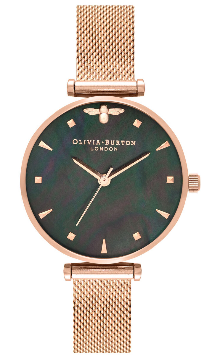 OLIVIA BURTON Queen Bee Black Mother of Pearl Rose Gold Mesh OB16AM145